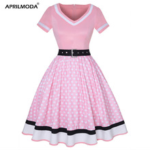 Plus Size Women Polka Dot Print Vintage Dress V Neck Short Sleeve Belt Hepburn Dress Sweetheart Pin Up 50s Party Dresses Vestido