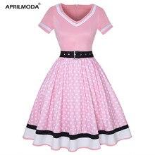 플러스 사이즈 여성 폴카 도트 프린트 빈티지 드레스 v 넥 짧은 소매 벨트 헵번 드레스 아가씨 핀 50s 파티 드레스 Vestido