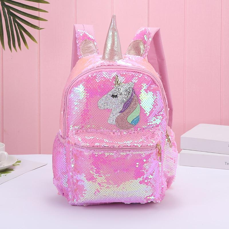 Girl Sequin Mermaid Backpack Children Large Zipper Unicorn Schoolbag Teenager Hologram Heart Love Backpack For School Travel Bag