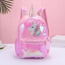 Girl Sequin Mermaid Backpack Children Large Zipper Unicorn Schoolbag Teenager Hologram Heart Love Ba