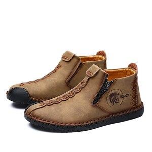 Image 5 - Mocasines clásicos cómodos para hombre, zapatos muy cálidas de invierno, de cuero partido, informales, de talla grande