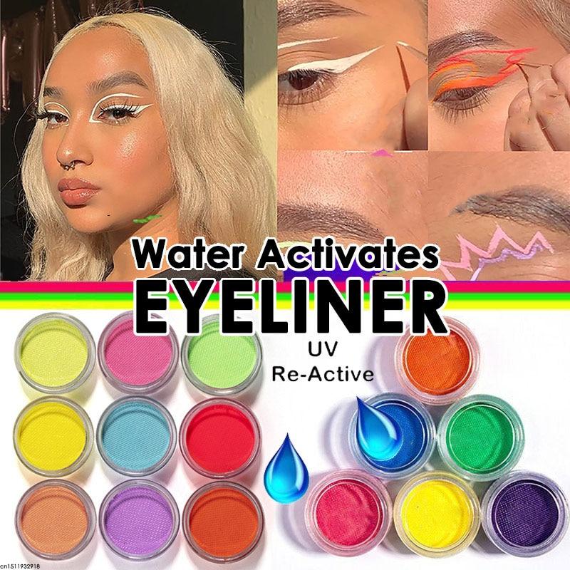 Água ativado delineador uv luz neon pastéis delineador 21 cores pastel preto luz uv reativo delineador brilho no forro de olho escuro