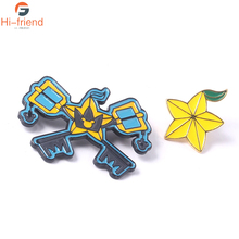 Games Kingdom Hearts Broochs Yellow Pentagram Sora Key Keyblade Shape Blue Enamel pin set Cute Carambola Gift for Friends