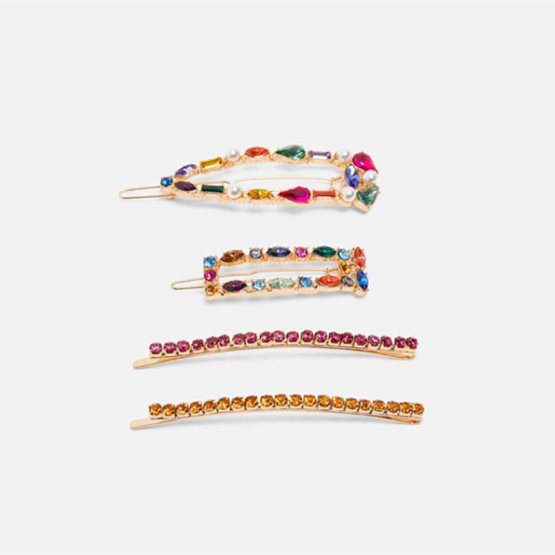 HZ 2019 New 4pcs/set Colorful Crystal Rhinestone Rectangle Hollow Hair Grip Barrettes Hairpin Hair Accessories For Women Girls