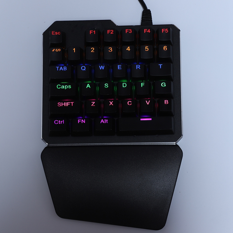 35 Keys Blue Switch Mini Gaming Keypad LED Backlight Wired USB Keyboard One Handed Mechanical Keyboard For Laptop