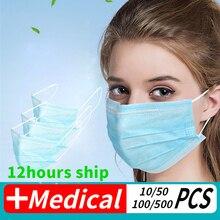 100 قطعة مكافحة الفيروسات قناع للوجه يستخدم مرة واحدة مكافحة الغبار مكافحة الأنفلونزا الوجه قناع الفم لأداة الفيروسات التاجية واضحة