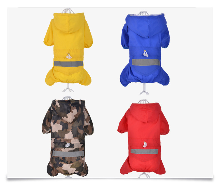 Pet Dog Solid Color Raincoat XS-XXL Dog Spring Summer Outdoor Windproof Rainproof Pet Four-foot Raincoat Camouflage Clothes