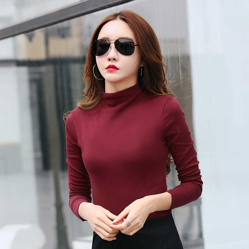 Camiseta feminina camisa de algodão tshirt de manga longa tshirt meia gola alta t camisas 10 cores mulher topos roupas moda casual magro
