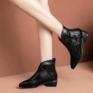 Image 4 - ALLBITEFO di pelle di pecora naturale genuino della mucca di cuoio della caviglia stivali di modo di marca della ragazza stivali di vendita calda di Autunno di Inverno delle donne casuali stivali