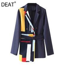 [DEAT] 2021 primavera autunno bavero manica lunga stampa asimmetrica vita regolabile High Street blazer abito da donna cappotto 3AJ83209L