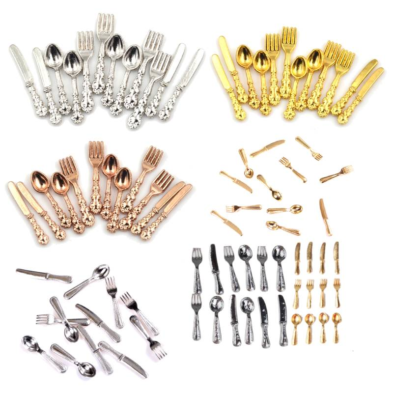 12Pcs 1:12 Mini Vintage Dollhouse Miniatures Tableware Cutlery Metal Knife Fork Spoon Kitchen Food Furniture Toys Gold Silver