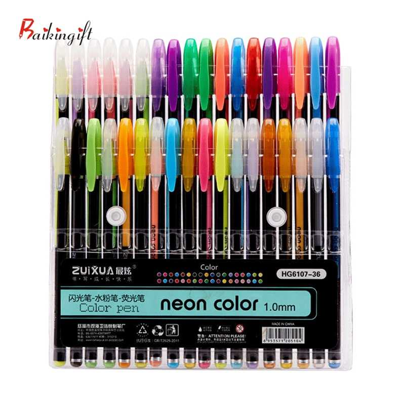 Penna di promozione 12 Colori Penna Gel Set di Scintillio Del Gel Penne Per La Scuola Ufficio Adulto Libro Da Colorare Riviste Disegno Scarabocchi Pennarelli Artistici