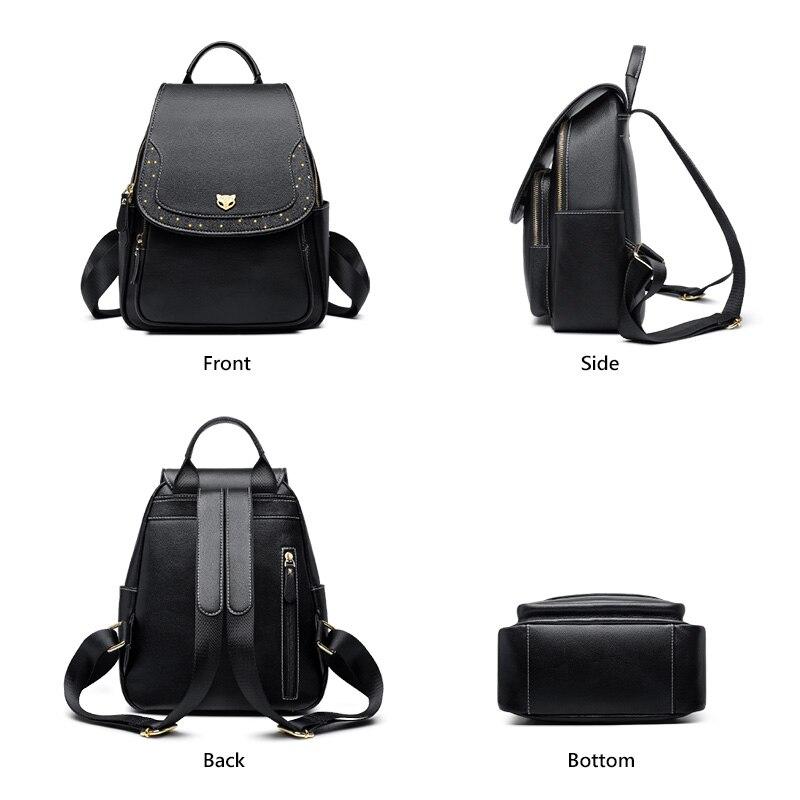 Foxer Multi Genuine Leather Backpacks Women Black