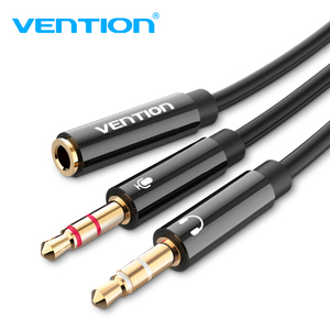 Vention Headphone Splitter Earphone Adapter Audio 3.5mm Female to 2 Male Jack 3.5 Mic Y Splitter Headset to PC Adapter Aux Cable(China)