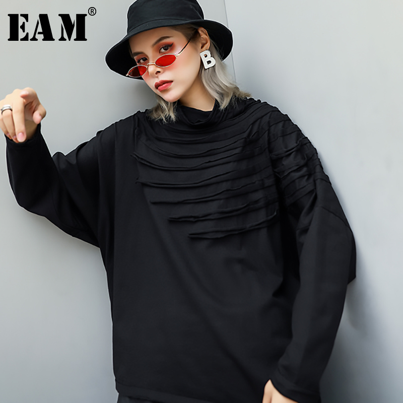 [EAM] 2019 New Spring Autumn PU Leather Turtleneck Long Sleeve Simple Temperament T-shirt Women Fashion Tide All-match JY933