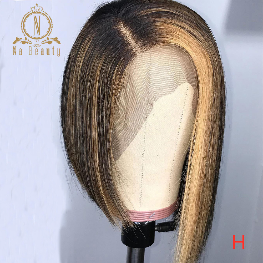 Honey Blonde Highlight Wig 360 Lace Frontal Wig 13x6 Lace Front Human Hair Wigs HD Transparent Lace Wig Pre Plucked Nabeauty 180