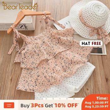 Bear Leader Girls Clothing Sets 2020 Summer Kids Clothes Floral Chiffon Halter+Embroidered Shorts Straw Children Clothing bear leader kids clothes 2018 fashion sleeveless summer style baby girls shirt shorts belt 3pcs suit children clothing sets