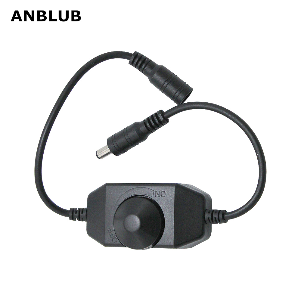 ANBLUB LED Dimmer Switch Brightness Adjust Controller For 3528 5050 5730 5630 Single Color Strip Light DC 12V 24V Black/White
