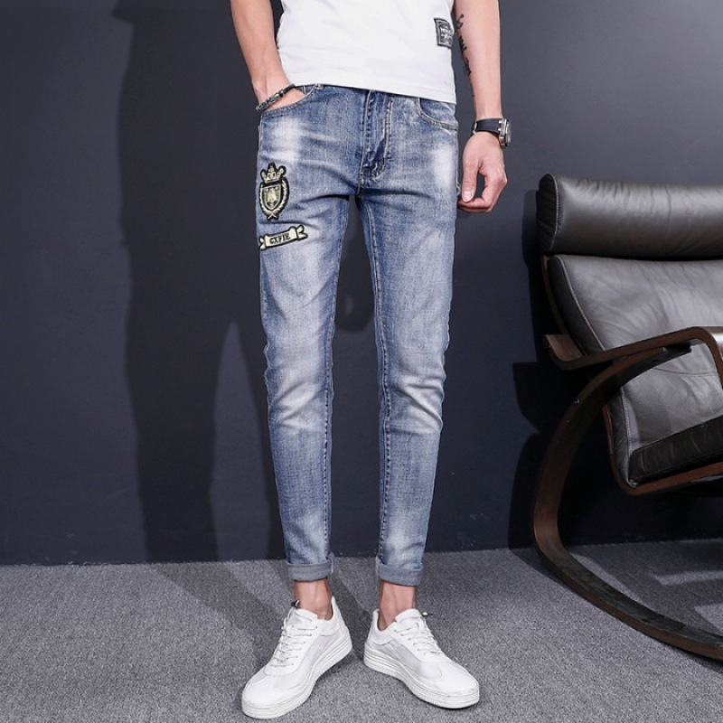 With Holes Printed Jeans Men's Beggar Popular Brand Slim Fit Versatile Skinny Casual Pants Korean-style Trend Summer Light Color