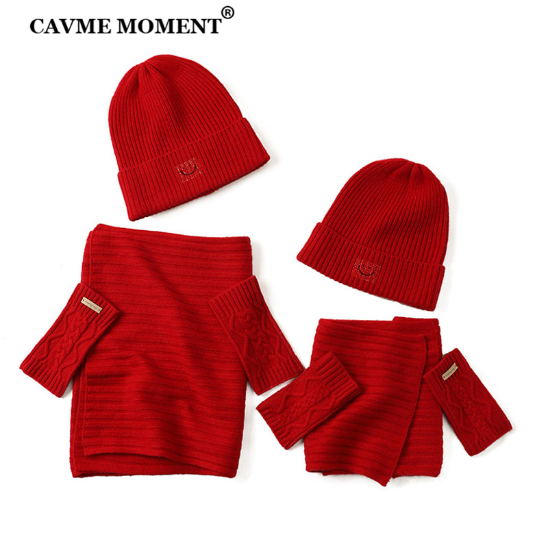CAVME Knitted Cashmere Red Scarf Gloves Hats Set Gift For Christmas New Year 100% Soft Cashmere For Adults And Kids Limitted