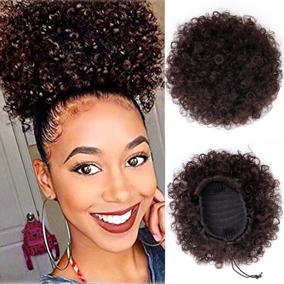 AISI QUEENS Synthetic Puff Afro Short Kinky Curly Chignon Hair Bun Drawstring Ponytail Wrap Hairpiece Fake Hair Extensions