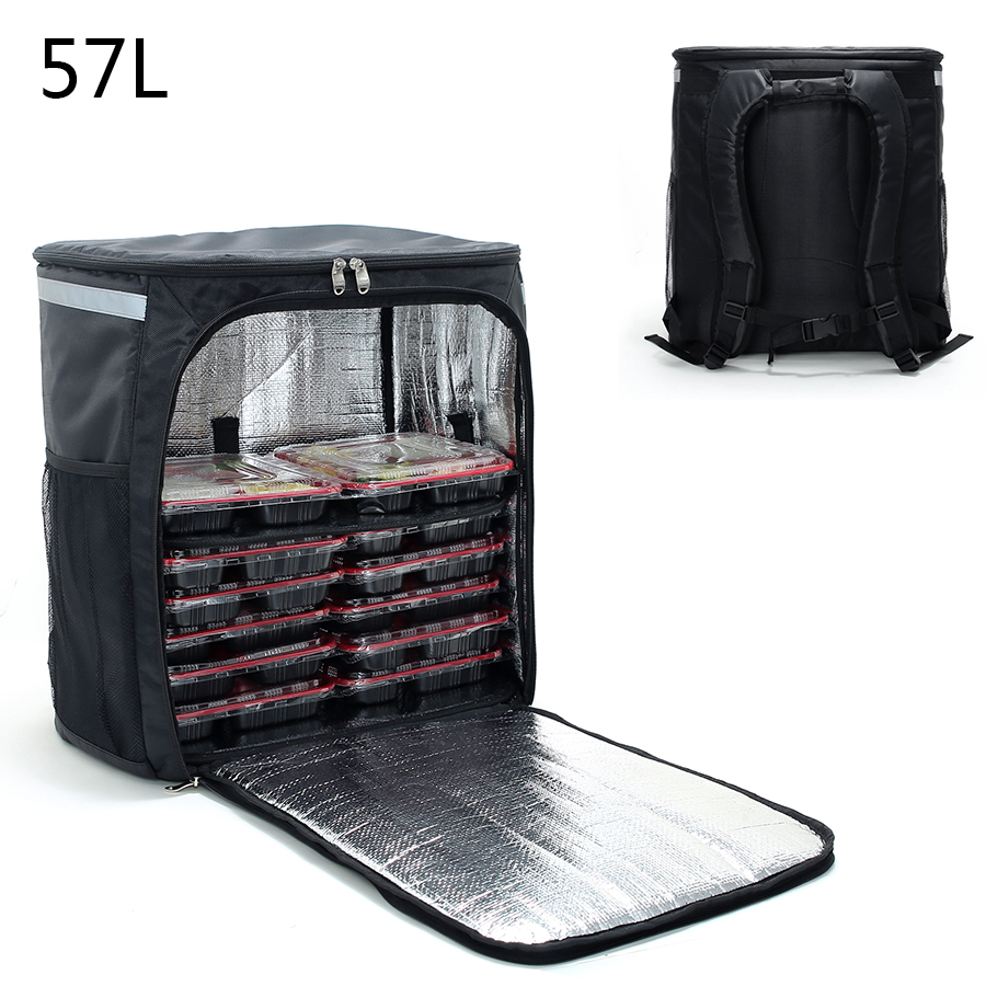 57L Insulated Cooler Meal Backpack Insulated Thermal Lunch Bag  Pizza Delivery Car Meal Box Layered Refrigerator Pack
