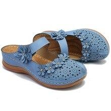 Sandalias de flores para mujer zapatos Vintage señoras niñas cómodas tobillo hueco punta redonda sandalias suaves zapatos de verano chaissures Femmes