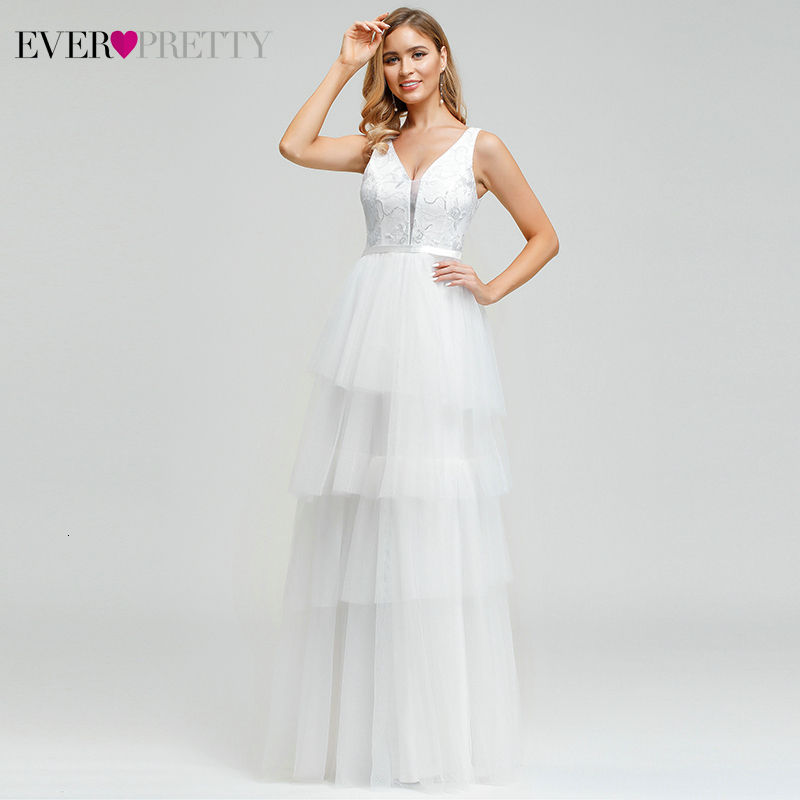 Elegant Lace Wedding Dresses Ever Pretty A-Line Double V-Neck Layered Sequined Embroidery Wedding Gowns For Bride Robe De Mariee