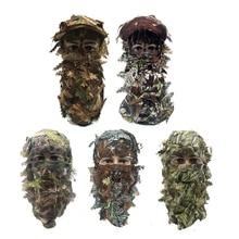 Камуфляжная маска для лица полиэстер 3D стерео лист Турция Маска Для Охоты Шляпа Балаклава лес CS маска для лица Охота фотография