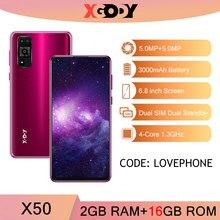 XGODY X50 3G telefony komórkowe 2GB 16GB smartphone Android 10 telefon komórkowy 3000mAh odblokuj GPS WiFi Dual SIM czterordzeniowy 6.8 ''2020 nowy