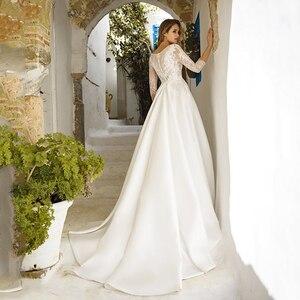 Image 2 - Verngo A line Wedding Dress Simple Satin Wedding Gowns New Bride Dress Lace Appliques Boho Wedding Dress Vestidos De Noiva