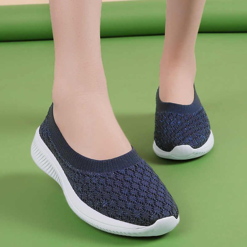 Damyuan 2019 ayakkabı kadın ayakkabı kadın Flats çorap Sneakers hafif artı boyutu yaz mokasen yürüyüş düz ayakkabı bayanlar