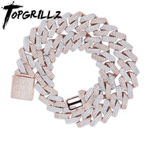 TOPGRILLZ 20mm Miami Newest Box Clasp Cuban Link Chain Heavy Iced Zircon Necklace Choker Bling Bling Hip hop Jewelry For Men men women hip hop miami cuban link fully cz chain necklace copper casting micro cubic zirconia clasp iced out bling jewelry
