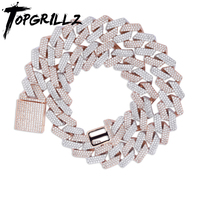 TOPGRILLZ 20mm Miami Newest Box Clasp Cuban Link Chain Heavy Iced Zircon Necklace Choker Bling Bling Hip hop Jewelry For Men