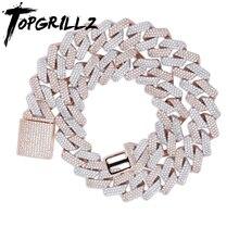 TOPGRILLZ 20mm Miami yeni kutu toka küba Link zinciri ağır buzlu zirkon kolye gerdanlık Bling Bling Hip hop takı erkekler için