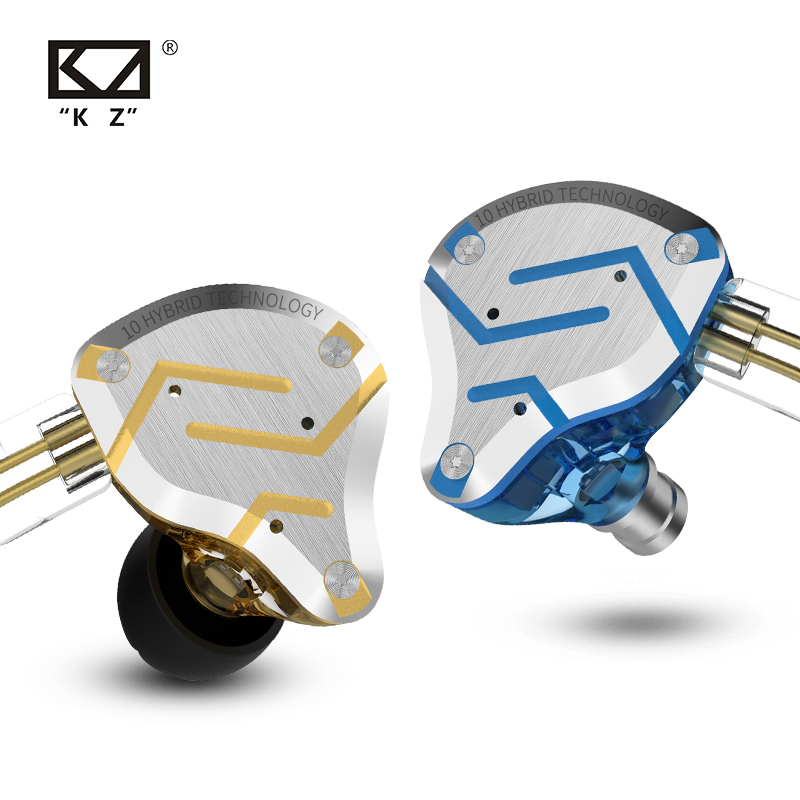 KZ ZS10 Pro Gold Earphones 4BA 1DD Hybrid 10 drivers HIFI Bass Earbuds In Ear Monitor Headphones Noise Cancelling Metal Headset