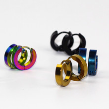 купить Small Hoop Earrings Silver Gold 316L Stainless Steel Hoop Earring for Women Men Ear Rings Clip Colored Circle Earrings e0213 дешево