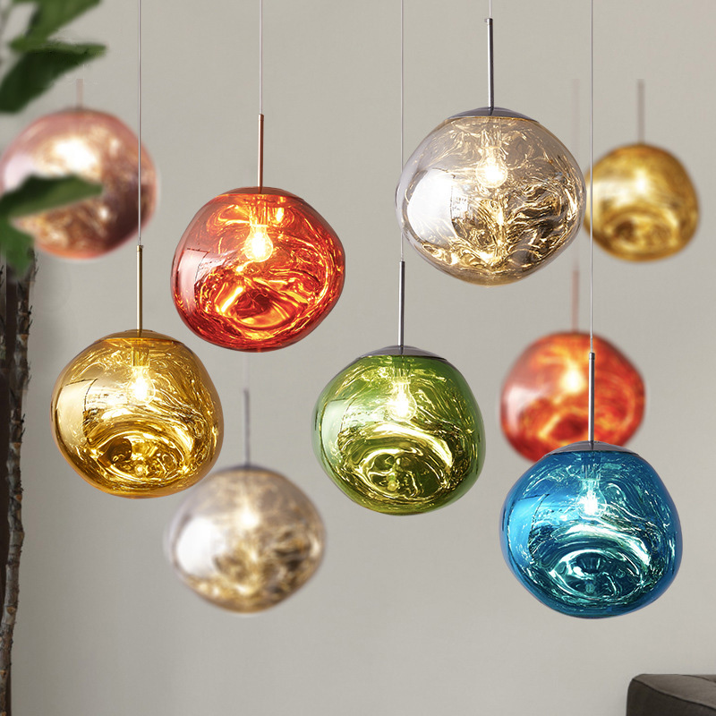 Nordic Tom LED Glass Chandelier Dixon Lava Ball Pendant Lamps Hanging Lamps Bedroom Kitchen Chandelier Modern Personality Light