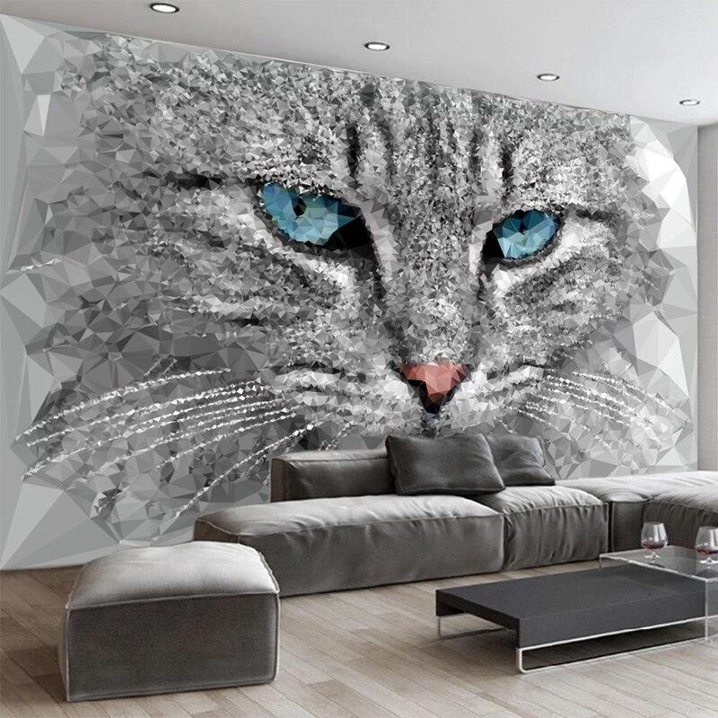 Custom Mural Wallpaper Modern Abstract 3D Stereo Geometry Cat Animal Wall Painting Living Room TV Sofa Bedroom Home Decor Fresco