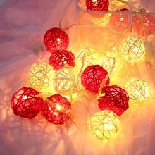 Warm Light String Ball Garland led outdoor Lighting Rattan Balls Chrismas Decoration Fairy Lights Lamp Chain Chanukah Home Decor