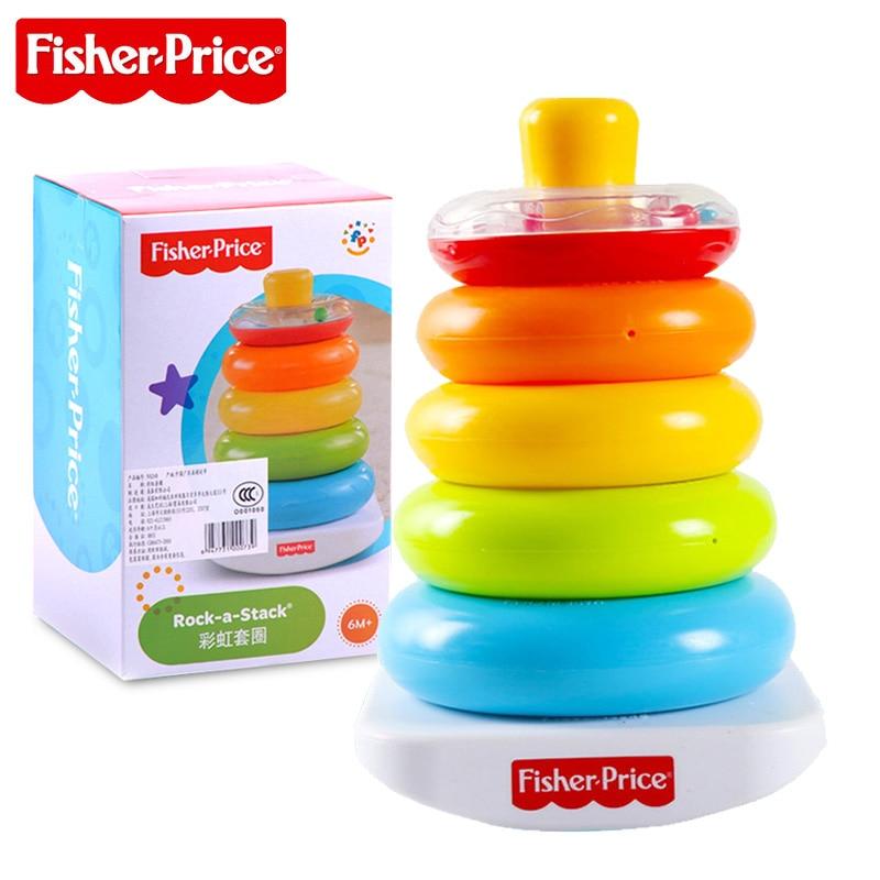 Fisher-Price brillant bases empiler & rouleau tasses enfants jouet éducatif Pierwsze Klocki Malucha K7166 pour enfant cadeau d'anniversaire
