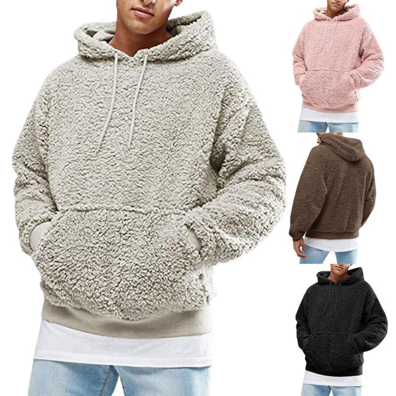 Hot Men Hoodies Solid Long Sleeve Warm Fluffy Hoodie Pullover Fleece Autumn Winter Loose Sweatshirt Hooded Coat Warm Jumper