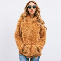 Women Autumn Winter Hoodies Faux Fur Shaggy Fluffy Pullover Casual Long Sleeve Drawstring Hoodies Sweatshirt With Front Pocke