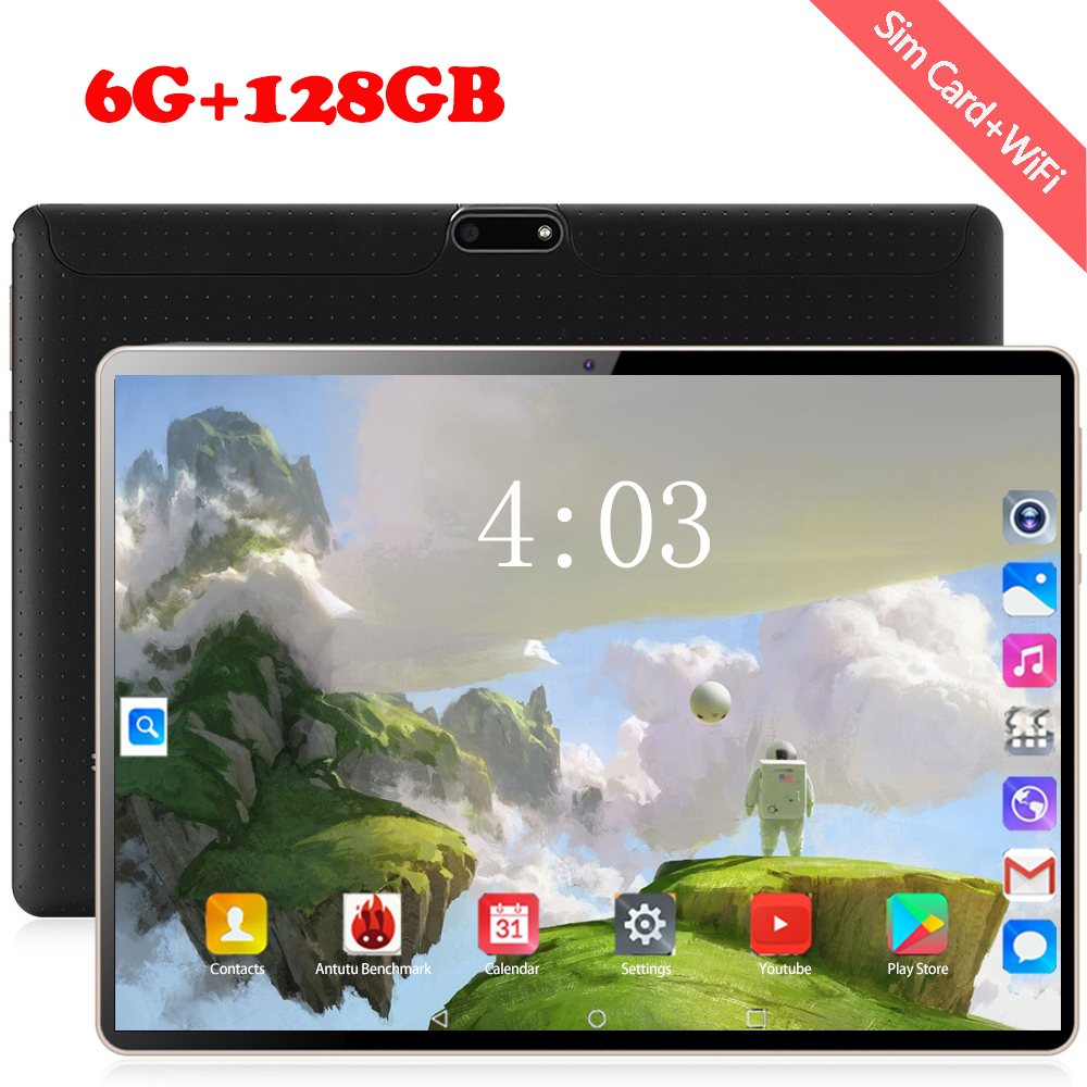 2020 Android 8.0 10.1 Inch 4G LTE Phone Tablet PC 10 Core RAM 6GB ROM 128GB 1280*800 IPS Dual SIM Card Tablets Pcs 5mp Camera