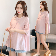Summer Korean Fashion Maternity Blouses Button Open for Nursing Loose Thin Tunic for Pregnant Women Pregnancy Shirt Tops