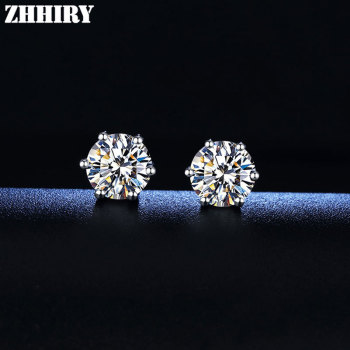 ZHHIRY Real Moissanite 18k White Gold Earrings For Women Stud Earring Total 2.4ct Each 1.2ct D VVS1With Certificate Fine Jewelry зонт unit promo red