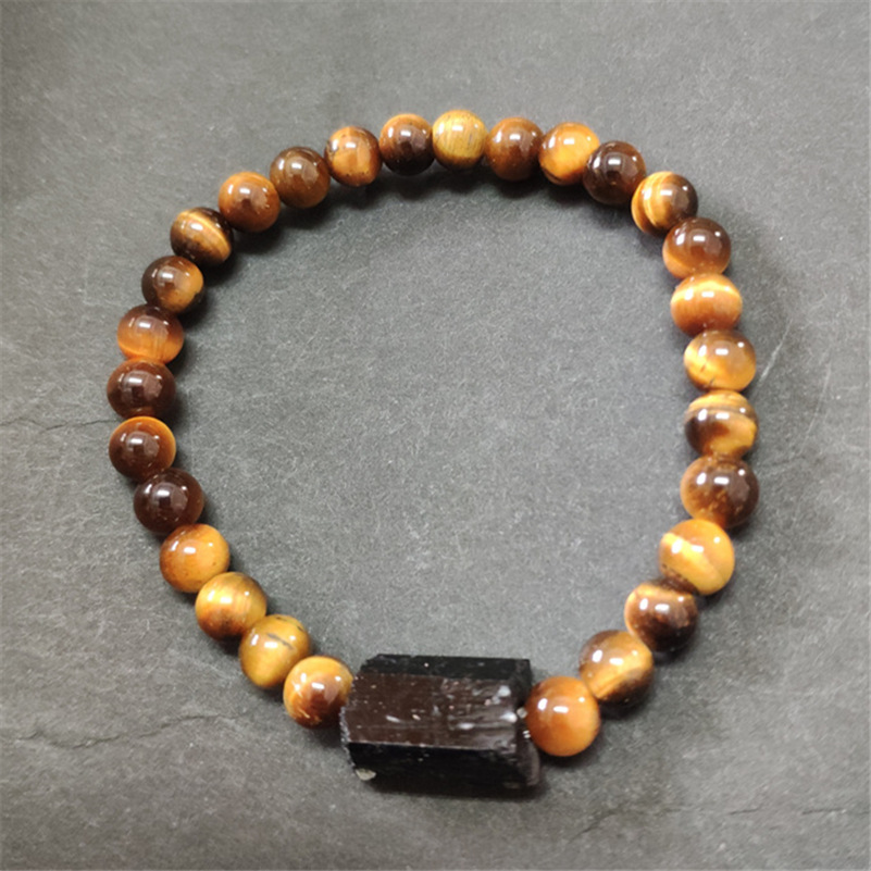 standard tiger eye stone beads with natural black raw rough tourmaline tourmli mineral healing stone beaded man women bracelets