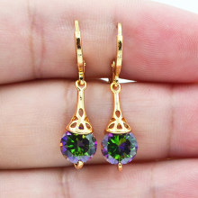 Fashion Wanita Emas Warna Penuh Bulat Rainbow Mistik Topaza Zircon CZ Anting-Anting Perhiasan(China)