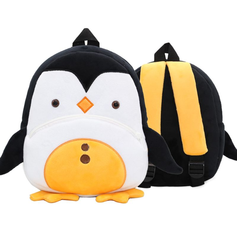 Cute Cartoon Penguin Toddler Backpack Soft Plush Kids Schoolbag Lunch Snack Toy Shoulder Bag for Preschool Boys Girls