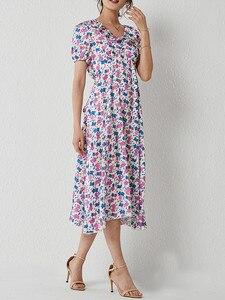 Новинка, модная Маргаритка, платье миди с цветочным рисунком, женское платье с оборками, v-образным вырезом, коротким пышным рукавом, притале...